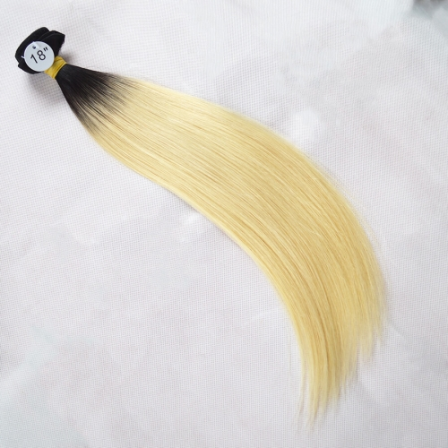 Ombre Blonde Peruvian Virgin Hair Straight Color 1b/613# 1 Bundle