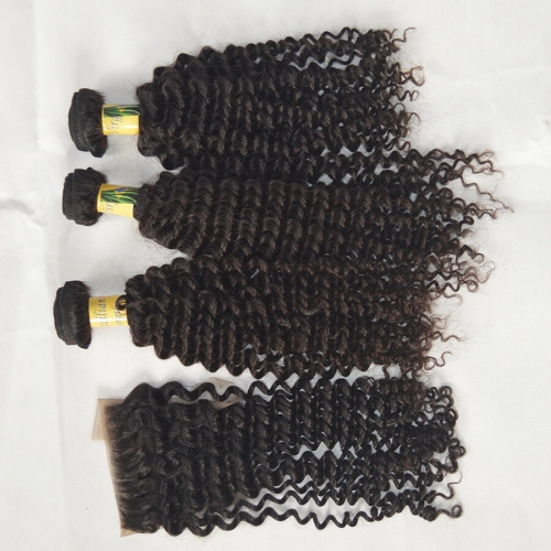 Jerry Curl 3 Bundles Brazilian Virgin Hair With Closure Free Shipping