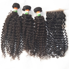 High Quality 4*4 Lace Closure With Raw Indian Virgin Hair 3 Bundles Jerry Curl Free Shipping