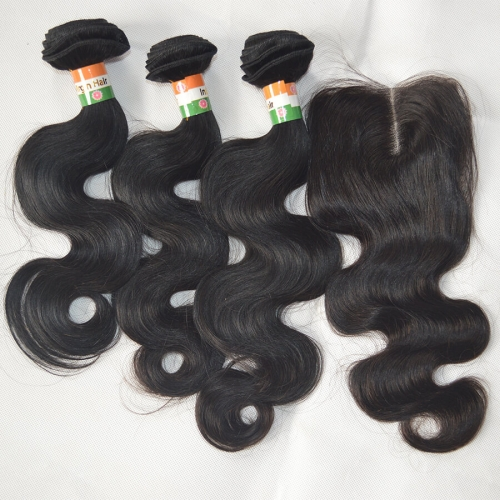 High Quality 4*4 Lace Closure With 3 Bundles Raw Indian Virgin Hair Body Wave Free Shipping