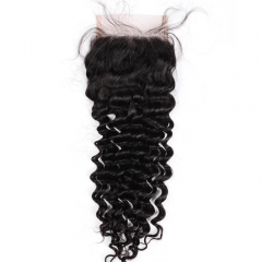 "Top Closure Wiss Lace 4""X4"" Peruvian Virgin Hair Deep Wave Natural Color"