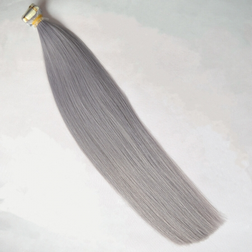 Tape In Hair Extensions Skin Weft Straight Grey Color 20pcs 40g/package