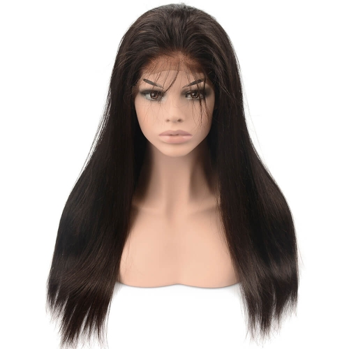 Pre-plucked Full Lace Wig Silky Straight Peruvian Virgin Hair Natural Color