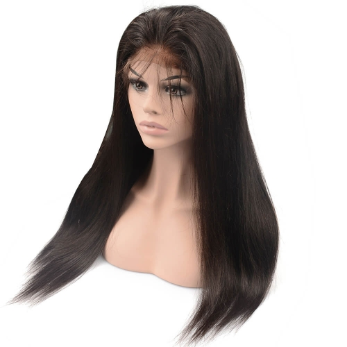 Pre-Plucked Lace Front Wig 150% Density Peruvian Virgin Hair Silky Straight Natural Color