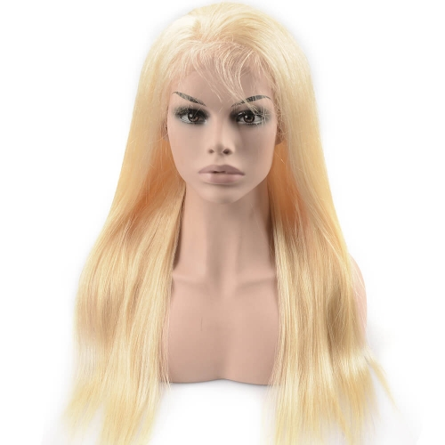 Pre-plucked Full Lace Wig Straight Peruvian Virgin Hair Blonde Color 613#