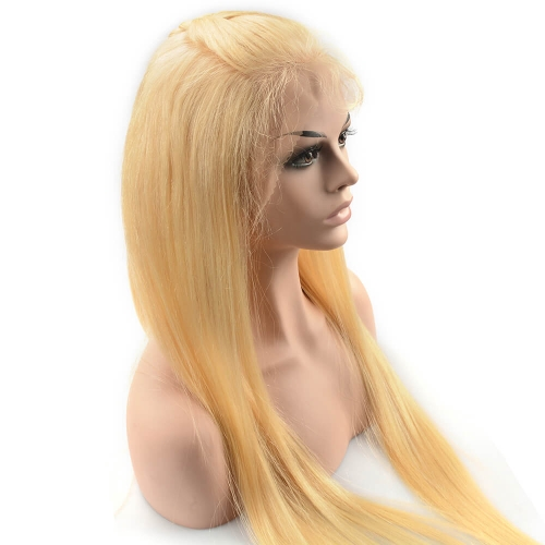 Pre-Plucked Glueless Lace Front Wigs Peruvian Virgin Hair Silky Straight Blonde Color #613