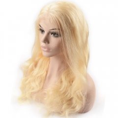 Pre-plucked Full Lace Wig Body Wave Peruvian Virgin Hair Blonde Color 613#