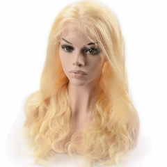 Pre-Plucked Lace Front Wig 150% Density Peruvian Virgin Hair Body Wave Blonde Color 613