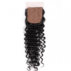 "Silk Base Top Closure Deep Wave 4""X4"" Peruvian Virgin Hair Natural Color"