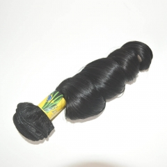 Short Brazilian Virgin Hair Weave Loose Wave Natural Color 1 Bundle