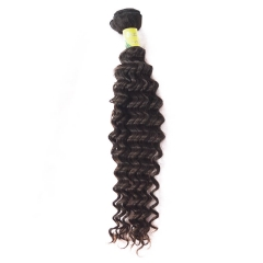 Short Hair For Promotion Brazilian Virgin Hair Weave Deep Wave Natural color 1 bundle