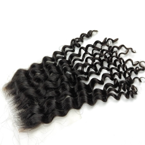 100% Brazilian Virgin Hair Deep Wave 4x4 Swiss Lace Closure Free Parting