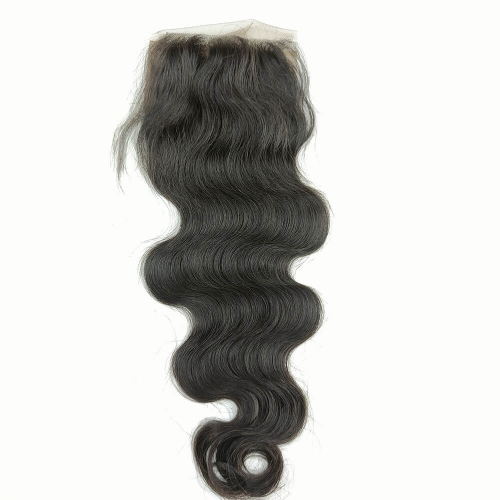 "Silk Base Closure 4""X4"" Brazilian Virgin Hair Body Wave Swiss Lace Free Part"