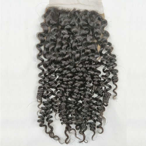 "Silk Base Closure 4""X4"" Brazilian Virgin Hair Jerry Curl Swiss Lace Free Part"