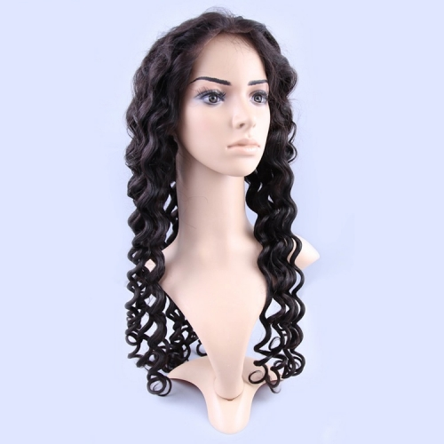 Brazilian Virgin Hair Full Lace Wigs Loose Deep Wave 150% Density Natural Color