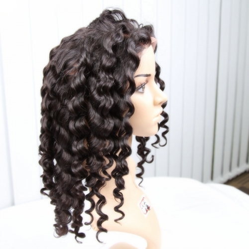 Full Lace Wigs 150% Density Brazilian Virgin Hair Italy Curly Natural Color