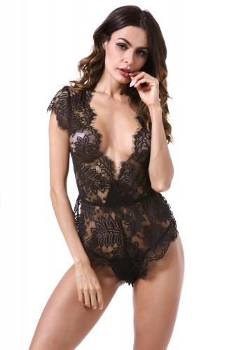 Womens Lingerie V Neck Lace Bodysuit Mini Babydoll Features Plunging Eyelash Teddy