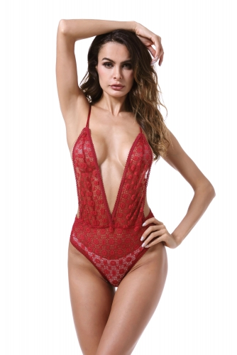 Women Deep V Sexy Lace Bodysuit  Lingerie Teddy Underwear