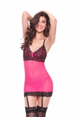 Women Lace Bodysuit Lingerie Set Babydoll Chemise with Garter Belts