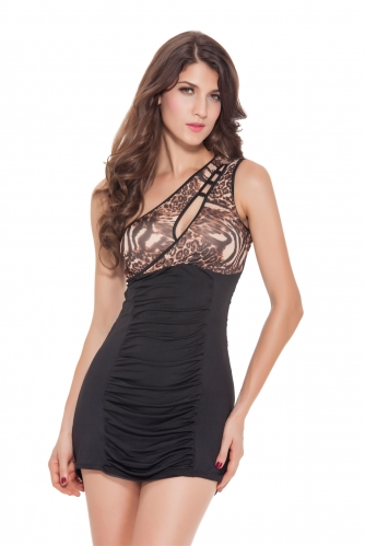 Women Sexy Bodycon Party Dresses Milk Silk Leopard Clubwear Oblique Shoulder Mini Dress