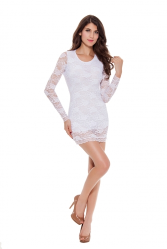 Women Long Sleeve Sexy Bodycon Party Dresses Ruffle Clubwear Hollow Lace Backless Mini Dress Fake Two Sets