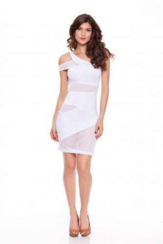 Women Sexy Bodycon Party Dresses Milk Silk Splicing Mesh Clubwear Oblique Shoulder Mini Dress