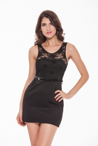 Women Sexy Bodycon Party Casual Dresses Air Layer Fabric Clubwear Lace Crew Neck Sleeveless Mini Dress