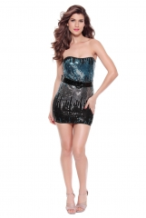 Women Sexy Bodycon Party Dresses Sequin Gradient Clubwear Wrapped Chest Mini Dress