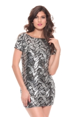 Women Fish Scale Pattern Sequins Sexy Bodycon Party Dresses Backless Clubwear Crew Neck Short Sleeve Mini Dress