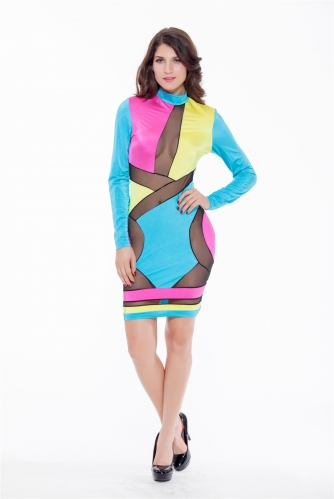 Women Geometric Patterns Sexy Bodycon Party Dresses Hollow Mesh Clubwear Stand Collar Long Sleeve Midi Dress