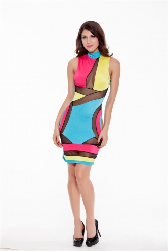 Women Geometric Patterns Milk Cut Out Sexy Bodycon Party Dresses Hollow Mesh Clubwear Stand Collar Sleeveless Midi Dress