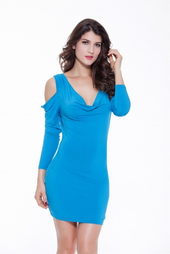 Women Swing Collar Sexy Bodycon Party Dresses Milk Cut Out Clubwear Backless Long Sleeve Mini Dress