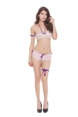 Women Bra and Panty Sets Wrap Underwear Ruffle Mesh Panties Garter Foot Ring Lace Arm Ring Sexy Lingerie 2 Piece Set