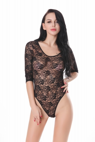 Women Sexy Lace Long Sleeve Teddy Lingerie One Piece Babydoll Mini Bodysuit Crew Neck Underwear