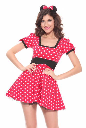 Cute Girls Dress Minnie Mouse Women Dresses Halloween Party Costume Dance Leotard Mickey Cosplay Dots Dancewear For Girl