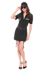 Sexy Female Cop Officer Uniform Constabulary Costume Halloween Adult Polce Cosplay Fancy Dress