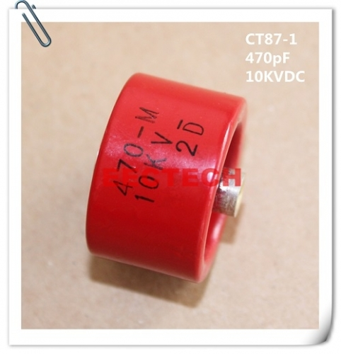 CT87-1, 470PF, 10KVDC, barrel style ceramic capacitor