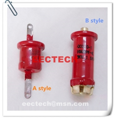 CCG20-1, 820PF, 3KVDC, tube shape ceramic capacitor