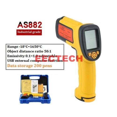 Xima Infrared Thermometer High Temperature Industrial High Precision Thermometer Non-Contact Thermometer AS882