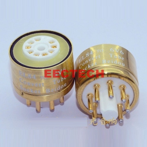 Conversion seat EL84 to 6V6, gold-plated EL84 tube to 6V6, EL34 tube conversion seat,convert socket (1 box=2 pcs)