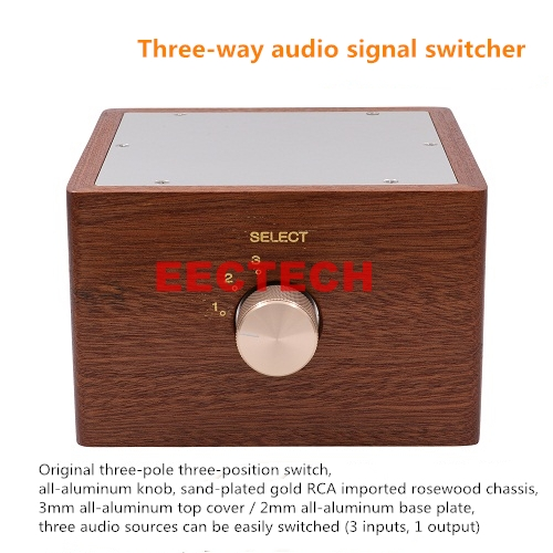 3 Ways Hifi Audio Signal Sources Selector Changer Switcher Solid Wood Chassis 24K Gold Plated RCA Jacks WBT Solder Teflon Wire