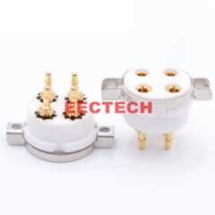 GZC4-T-G,Copy CMC 95 fine-porcelain 4-pin tube socket, 4-pin tube socket, gold-plated copper pin,Suitable for 2A2, 300B, 572B, 811