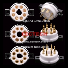 EECTECH High End Ceramic 8pin Octal Vacuum Tube Socket Base Gold Brass Pins For EL34 KT88 6550 6V6 274B 6L6 Hifi Tube AMP DIY