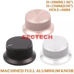 50x25mm Machined Solid Full Aluminum Volume POTENTIOMETER KNOB Sound Control Cap 6mm Hole Audio DIY Black Silver Golden