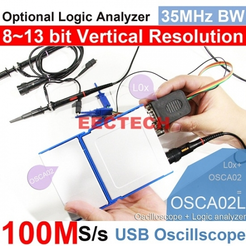 USB/PC Oscilloscope OSCA02 series, 100MS/s Sampling Rate, 35MHz Bandwidth