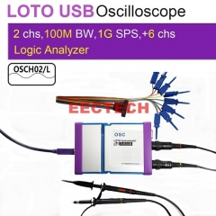 USB/PC Oscilloscope OSCH02 series, 1GS/s Sampling Rate, 100MHz Bandwidth, for automobile, Electro Lab, college student, engineers