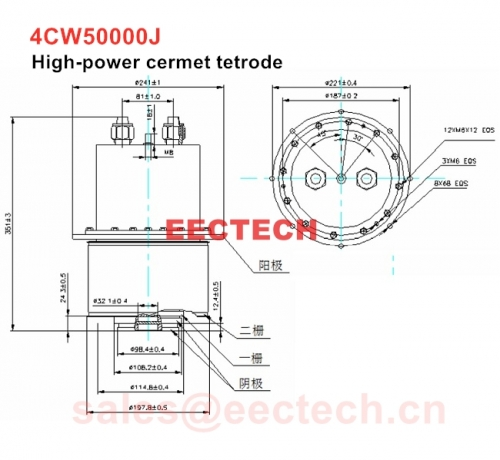 EDB966 equivallent 4CW50000J high-power cermet tetrode, can be used as AB1 class RF linear amplifier