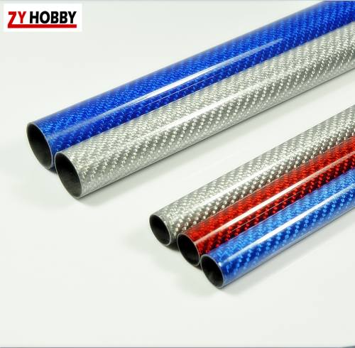 500mm Colored Carbon Fiber Tubes - 3K Glossy Surface - Dia 8mm to 30mm