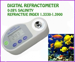 Pocket Digital Refractometer 0-28%salinity,REFRACTIVE INDEX:1.3330~1.3900 for Food industry & Aquarium
