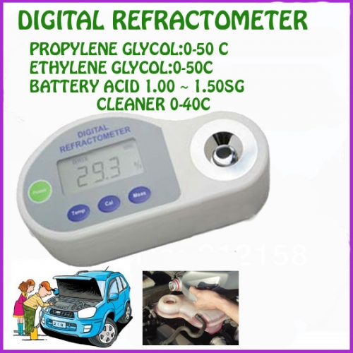 Pocket Digital Refractometer antifreeze,battery,cleaning liquid with Centigrade scales
